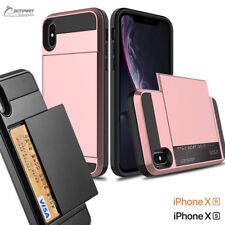 Slide Card Slot Armor Heavy Duty Case Cover for  iPhone Xs Max iPhone XR 10s 10R
