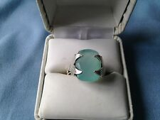 AWESOME CHECKERBOARD CUT 8.0CT. AQUA CHALCEDONY RING SIZE 9 SET IN SS925
