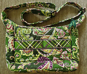 "Vera Bradley Hobo Purse Chelsea Green Floral Paisley Plaid Handbag Crossbody 11"""