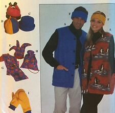 1998 'SIMPLICITY' FLEECE HAT MITTEN VEST SCARF SEWING PATTERN 8394 ADULT S,M,L