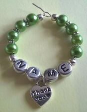 """Personalised Handmade Wedding Favour """"Thank You Heart"""" Wine Glass Charms"""