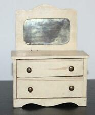Vintage Dollhouse Miniature White Cottage Chest of Drawers Dresser with Mirror