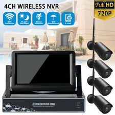 4CH WiFi Security Camera System Wireless Outdoor IP CCTV NVR Kit with LCD Screen