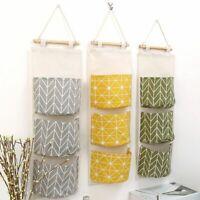3 Pockets Cotton Linen Hanging Bag Pouch Wardrobe Organizer Cosmetics Storage