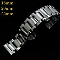 18/20/22mm Silver Solid Stainless Steel Watch Band Replacement Bracelet Strap