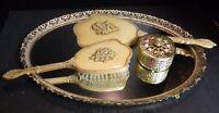 Vintage (4) Piece Ornate Matson 24 KT Gold Plated Filigree Vanity Set Very Good