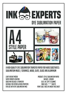 A4 Style 120g Sublimation Heat Transfer Paper 100 Sheet for hard substrate