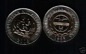 PHILIPPINES 10 PISO KM-278 2006 x 1 BI METAL CONJOINED UNC CURRENCY MONEY COIN