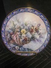 Pansies Lena Liu's Basket Bouquets Plate #2 W.L. George Purple Blue Yellow Pink