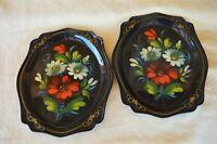 "2 VTG 1970s 7.5"" HandPainted Russian EnamelWare ToleWare Trays Cream Red Flowers"