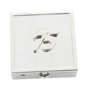 75th Birthday Square Pill Trinket Box Chrome with Mirror Gift 533