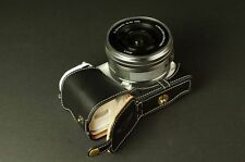 En cuir véritable demi Caméra Sac étui Pour Sony NEX5T NEX5R noir bas ouvert