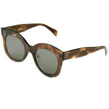 91397a78ebc94 Celine Chris CL 41443 07b Brown Havana Plastic Square Sunglasses Grey Lens