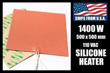 500 x 500mm Industrial Silicone Heater, 1400W/110V for 3D Printer Heated Bed