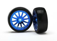 Traxxas Slick-Reifen auf Felge blau - TRX7573R