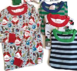 Lot 4 Pc HANNA ANDERSSON Pajamas Tops Xmas Santa Organic Cotton 130 8