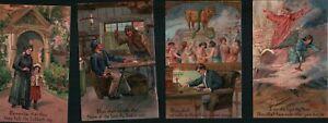 Set of Vintage PFB 1910s TEN COMMANDMENTS Embossed Postcards Unused