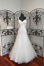 755 MOONLIGHT H1264 IVORY SZ 10 $1935 LACE W SEQUIN TULLE WEDDNG DRESS GOWN