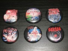 US Classic Death Metal PIN SET 6pcs Obituary Morbid Angel Deicide Autopsy