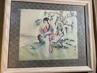 "Vintage Asian Watercolor on Silk ""Female In Landscape Scene"" - Signed And Framed"