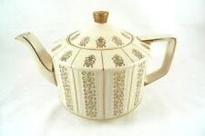 Vintage Sadler Teapot Tea Pot Cream Color With Gold Trim Accents England