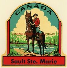 VINTAGE CANADA MOUNTIE SAULT STE. MARIE SOUVENIR WATER TRANSFER CAR TRAVEL DECAL