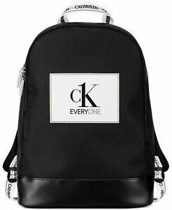 Calvin Klein Ck Everyone Black Faux Leather Backpack Rucksack Gym Travel