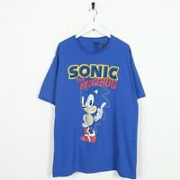 Vintage SONIC THE HEDGEHOG Big Graphic Logo T Shirt Tee Blue | 2XL