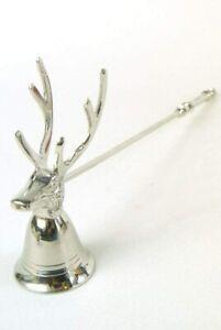 Candle Snuffer Vintage Style Silver Metal Long Handled Stag Head Reindeer Antler