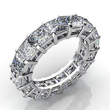 Unique Certified 7.00Ct Princess Cut Full Eternity 14Kt White Gold Coctail Band.