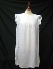 Haris Cotone Bianco Boho Eccentrico 100% LINO ESTATE Smock Dress Crystal Borchie XL
