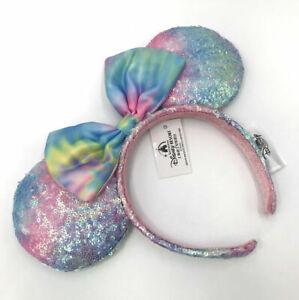 Minnie Mouse SHDR 2021 Disney Parks Ears Headband Pastel Rainbow Tie Dye Sequin