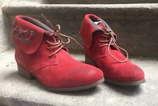DESTOCKAGE NEUF BOTTINES MARQUE COULEUR CAFE CUIR ROUGE @ T 37 @ NEW 89€ @ N1363