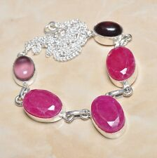 "Handmade Cherry Ruby Natural Gemstone 925 Sterling Silver Necklace 18.5"" #N00058"