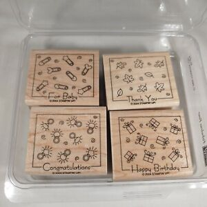 Stampin Up Fabulous Four Rubber Stamp 4pc Set Diaper Pins Rings Leaves Gifts