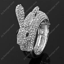 Clear rhinestone Crystal white rabbit Bangle Bracelet fashion jewelry silver new