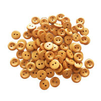 100Pcs Brown Round Wood Buttons 2 Holes Craft for Sewing Card Making Crafts
