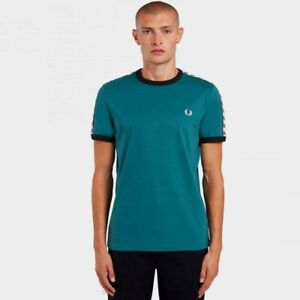 Fred Perry SS Taped Ringer T-shirt Light Petrol BNWT Designer Men Tops Clothing