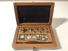 EIMER & AMEND NEW YORK BRASS SCALE WEIGHTS IN OAK BOX MADE IN GERMANY