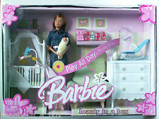 Midge & Baby Barbie Doll Nursery Denim Play All Day Set Family Playset NRFB