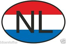 NL NETHERLANDS COUNTRY CODE OVAL WITH NETHERLANDS FLAG BUMPER STICKER