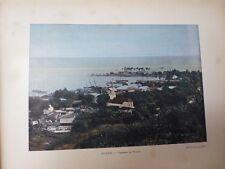 TAHITI: Gravure 19° in folio couleur /PANORAMA DE PAPEETE