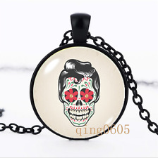 Sugar skull necklace photo Glass Dome black Chain Pendant Necklace wholesale