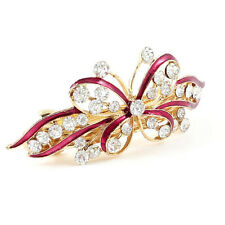 Red Butterfly Plastic Rhinestone French Hair Clip Barrette for Woman N3