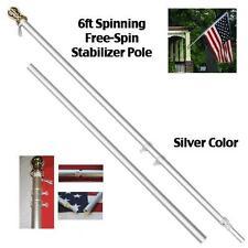 6 Ft Aluminum Tangle Free Spinning Aluminum Flagpole Flag USA Complete Kit