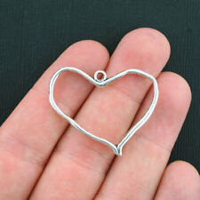 Bulk 40 Heart Charms Antique Silver Tone Artsy Design 2 Sided - Sc3739