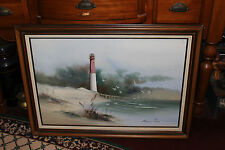 Superb Robinson Jones Nautical Oil Painting-Lighthouse Seagulls Ocean Waves
