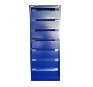 Bisley 7 Drawer Card Index/Media Cabinet In Blue With Keys £320+Vat