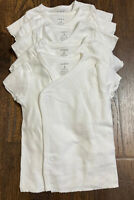 Set of 5 New W/O Tags Carters Baby 3 Month White Short Sleeve Snap Wrap Shirts