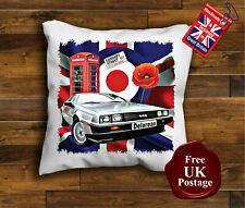 DeLorean Cushion Cover, DeLorean Cushion, Union Jack, Mod, Poppy,